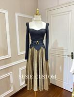 Autumn Ladies Elegant Two Piece Set Runway Women Gold thread Embroidery Lace Knit Tops + Pleated Long Skirt 2 piece set OL Suit