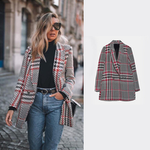 2020 Spring Women ZA Plaid Tweed Blazer New Houndstooth Double Breasted Suit Sli