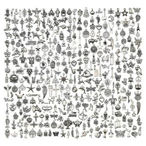 300pcs Charms for Jewelry Making Mixed Smooth Tibetan Silver Metal Pendants for DIY Necklace Bracelet and Crafting