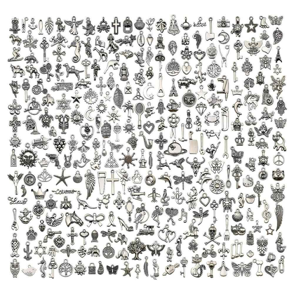 300 Pcs Mixed Smooth Tibetan Silver Alloy Charms Pendants DIY for Necklace Bracelet Jewelry Making And Crafting