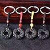 טבעי קשת עין אובסידיאן כפול Pixiu מעגל Keychain רכב מפתח שרשרת Pixiu שלום אבזם-במחזיק מפתחות לרכב מתוך רכבים ואופנועים באתר
