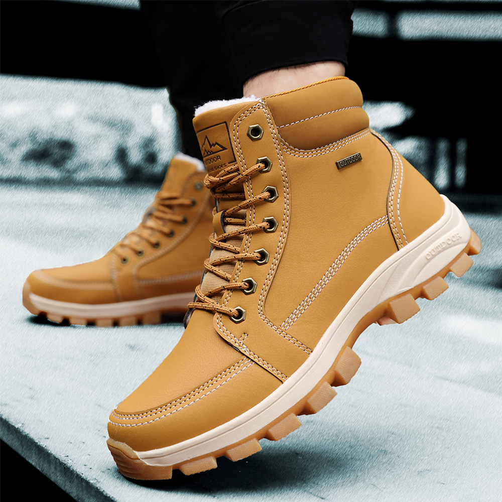 RELKA 2019 New Winter Ankle Boots Men Leather Warm Wool Cowboy Shoes Snow Plus Size 45 Work B3--B