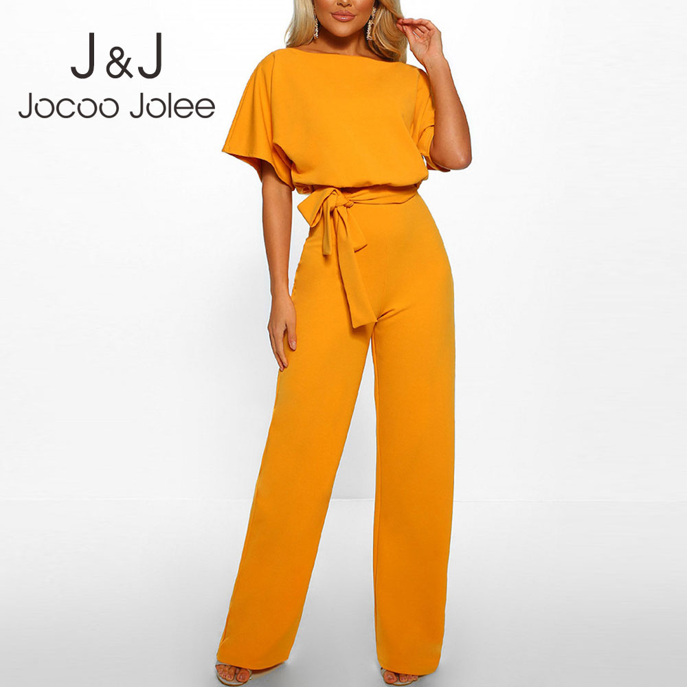 Jocoo Jolee Casual Solid Short Sleeve Wide Leg Jumpsuits With Belt Summer Plus Size 3XL Chiffon Jumpsuit Lady Rompers Overalls