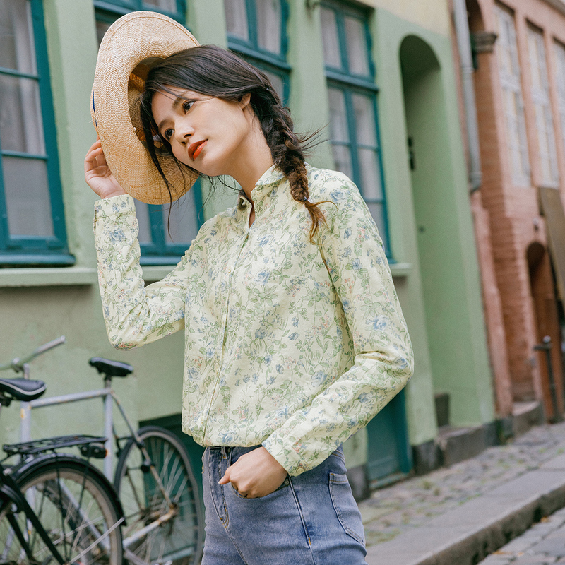 INMAN 2020 Spring New Arrival Literary Retro Lapel Print Single-breasted Loose Long Sleeve Blouse