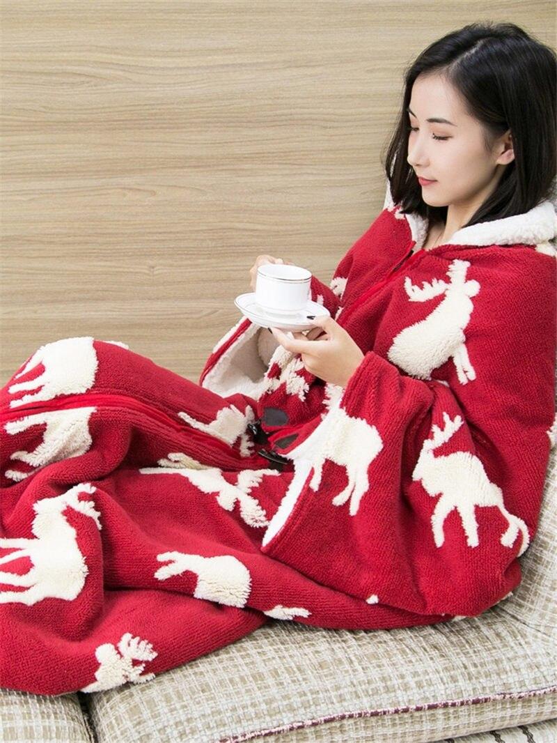 Mmultifunción de una pieza de pijama manta chal capa con manga gruesa caliente edredón ropa de casa señora invierno franela ropa de dormir f2058 - 4