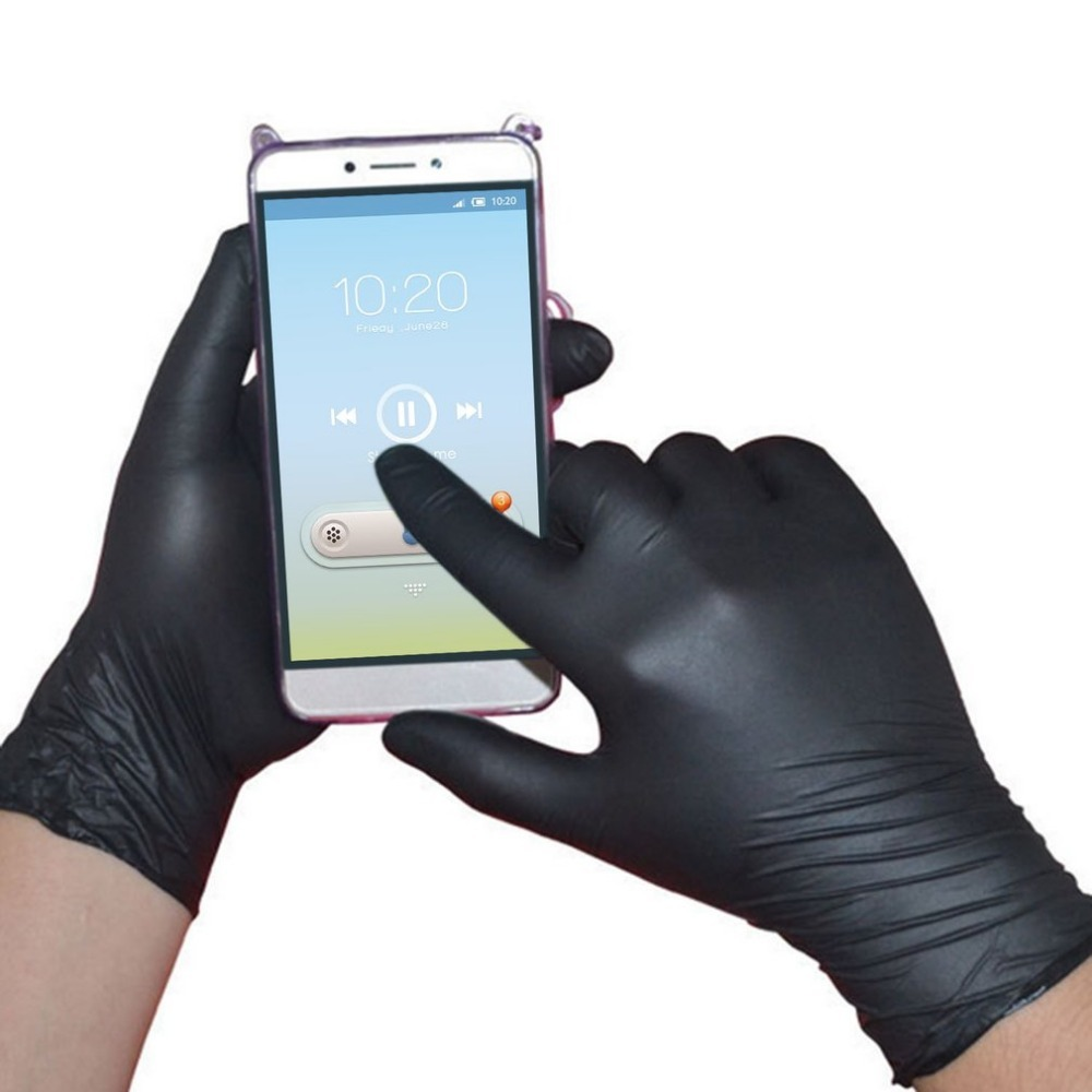 Nitrile Gloves Black 100pcs/lot Mechanic Grade Waterproof Allergy Free Disposable Work Safety Gloves Nitrile Gloves Household