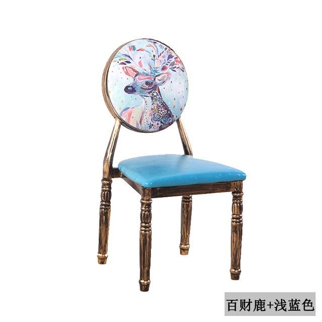 Nail Chair Retro Restaurant European Iron Dining Chair Creative Hotel Personality Makeup Chair Nail Stool Chair 4