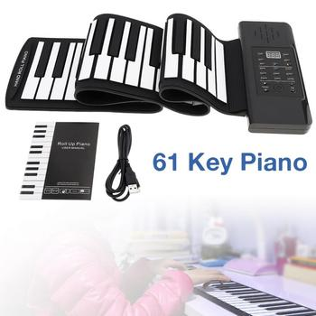 цена на Electronic Organ 61 Keys MIDI Roll Up Piano Electronic Rechargeable Portable Silicone Flexible Keyboard Organ Built-in Speaker