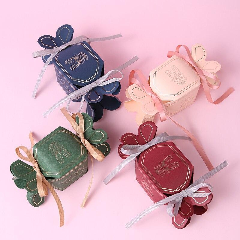 50 шт в наборе, необычная коробка труба градиент шестиугольная конфетная коробка с лентой бумажная коробка со свадебными сувенирами и подар