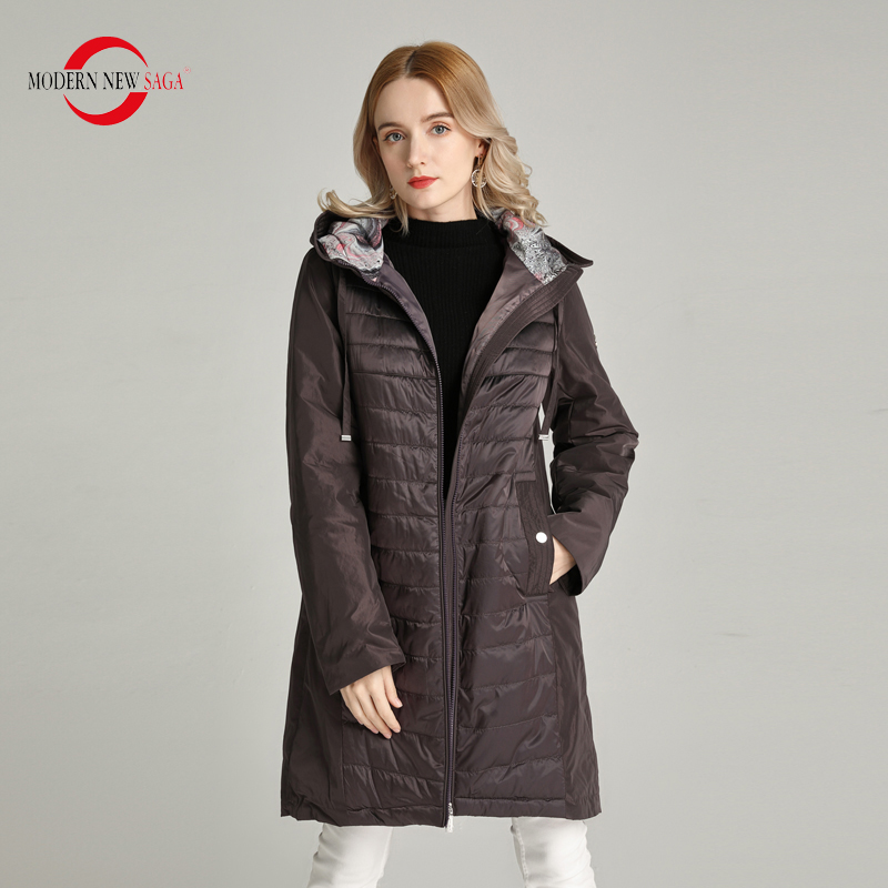 MODERN NEW SAGA 2020 Spring Women Coat Long Jacket Hooded Cotton Padded Coat Autumn Women Jacket Ladies Parka Russian Style