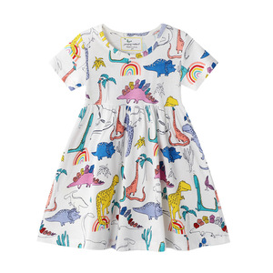 Kid Toddler Baby Girl Clothes Dinosaur Print Cotton Dresses Sundress Casual Cure Short Sleeve Summer Dress Outfit Clothes 2-7Y(China)