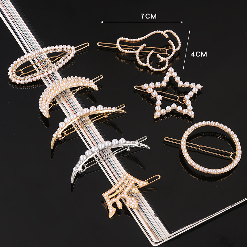 Korean Fashion Hair Accessories Pearl Frog Clip Love Pentagram Crescent Moon Water Drop Hair Clip Girl Hair Accessories