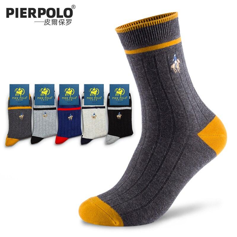 2019 PIER POLO мужские носки, мужские зимние теплые носки, чёсаный хлопок, высокое качество, мужские носки с вышивкой, подарок, 5 пар