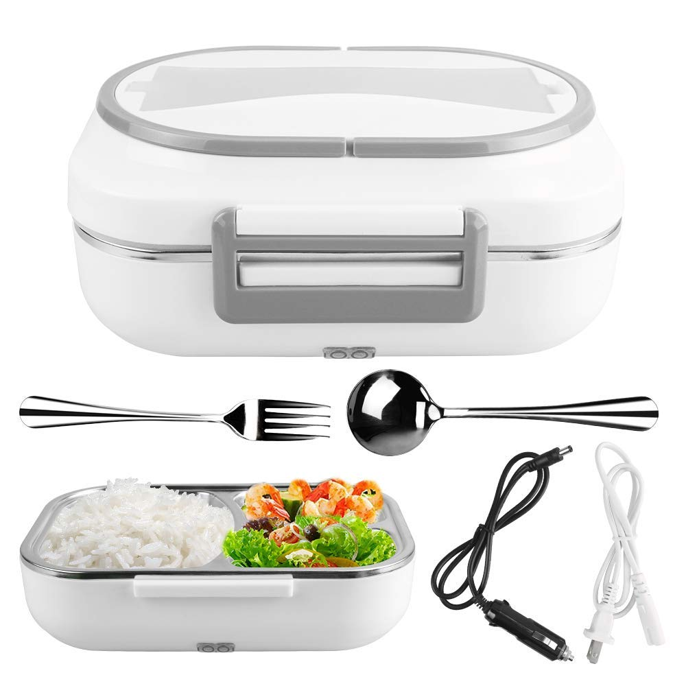304 Stainless Steel Inner Electric Lunch Box 3 Grid Portable Food Heating Holder Container