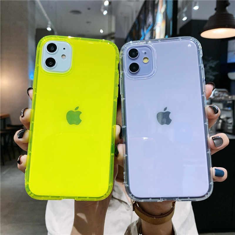 LOVECOM Màu Huỳnh Quang Chống Sốc Ốp Lưng Điện Thoại iPhone 11 Pro Max XR X XS Max 7 8 Plus Neon Case mềm TPU Trong Suốt Bao Bọc Điện Thoại