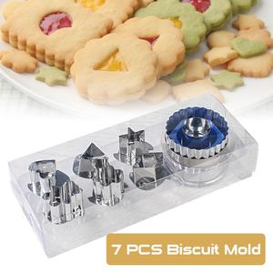 7pc/set Baking Moulds Cookie Cutters Set DIY Mold Stainless Steel Cookie Biscuit Cutters Eco-Friendly Cake Fondant Mold Tools