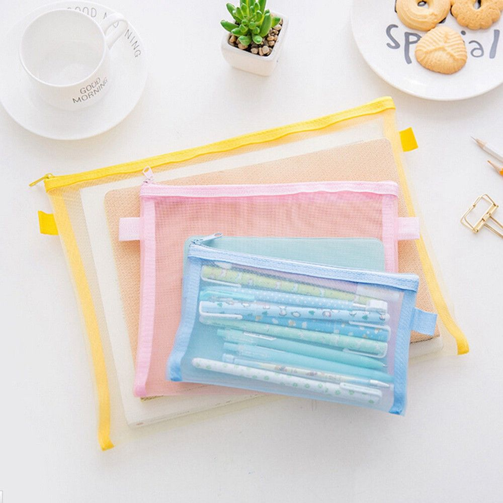 Transparent Collapsible Plastic Grid Folder Business Document Organizer Zipper Bag Office School Pencil Storage Bags Stationery