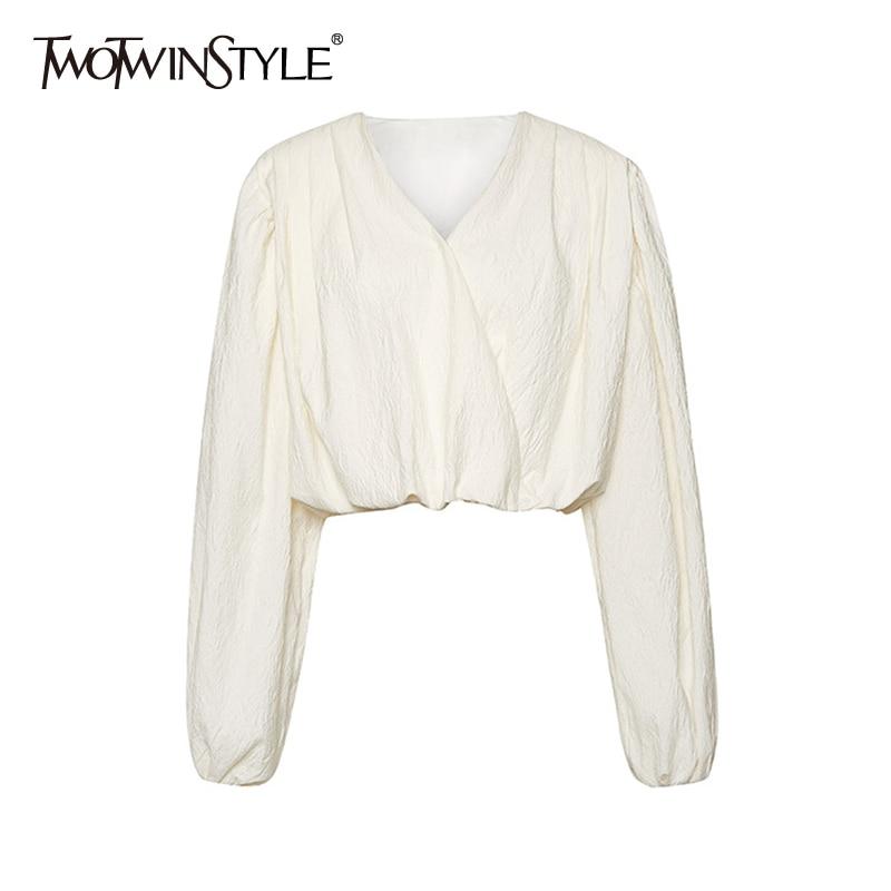 TWOTWINSTYLE Casual Beige Shirt For Women V Neck Puff Sleeve Minimalist Elegant Blouse Female 2020 Autumn Fashion New Clothing