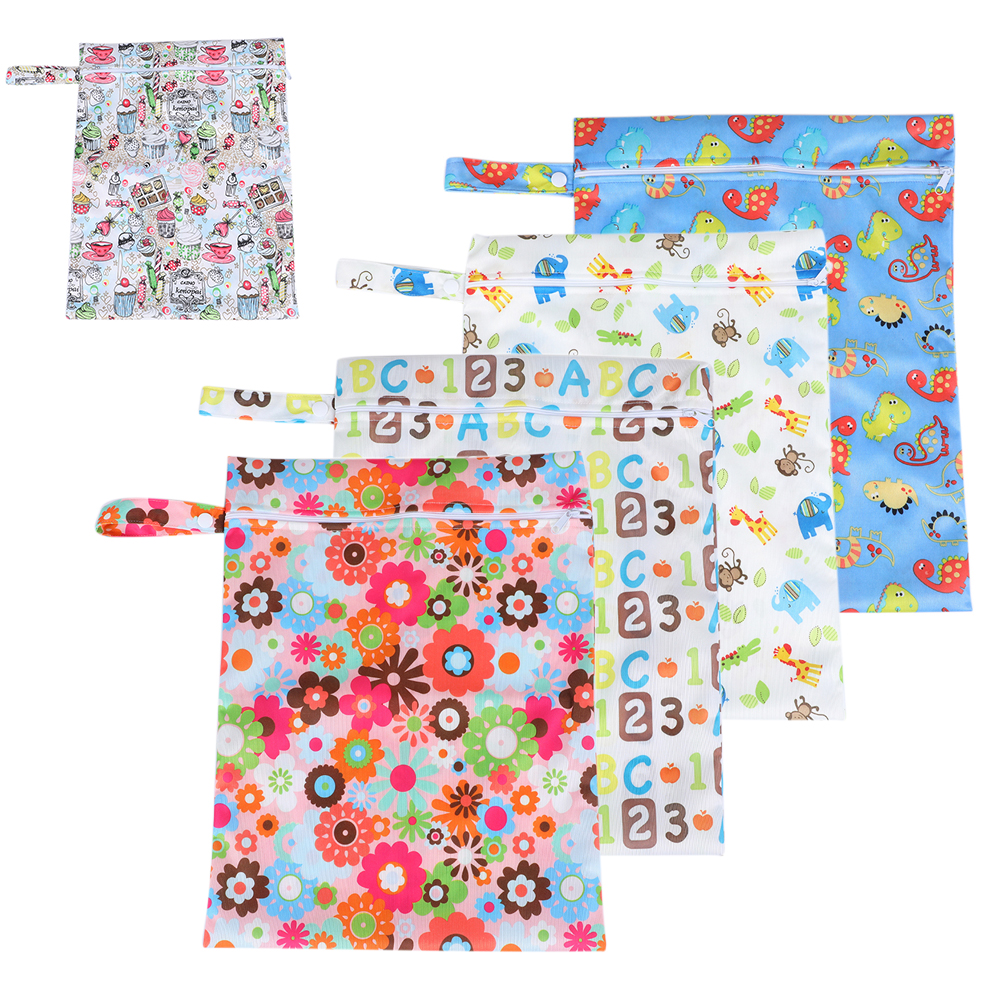 CYSINCOS Reusable Nursing Pads Single Zippers Washable Wet Bags Nappy Bags Printed Waterproof Wetbag Diaper Bags