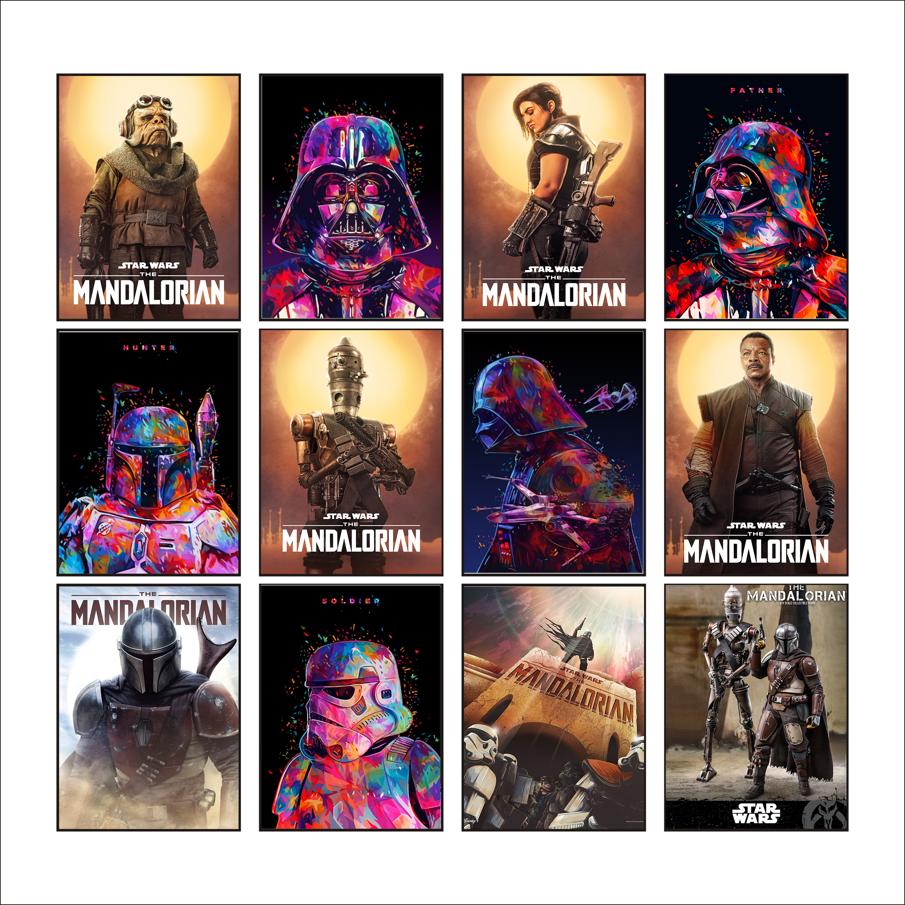 NEW Large Size 107X74CM The Mandalorian Poster Star Wars Watercolor Poster (No Date Mark) Morden Personality Home Decoration image