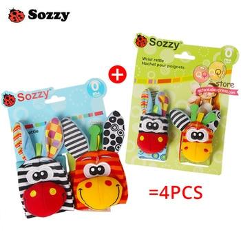 Sozzy Baby Rattles Soft Plush Toys 4 piece Foot Wrist Rattle Set Cartoon Newborn Development Educational Toys for Children Gift 2