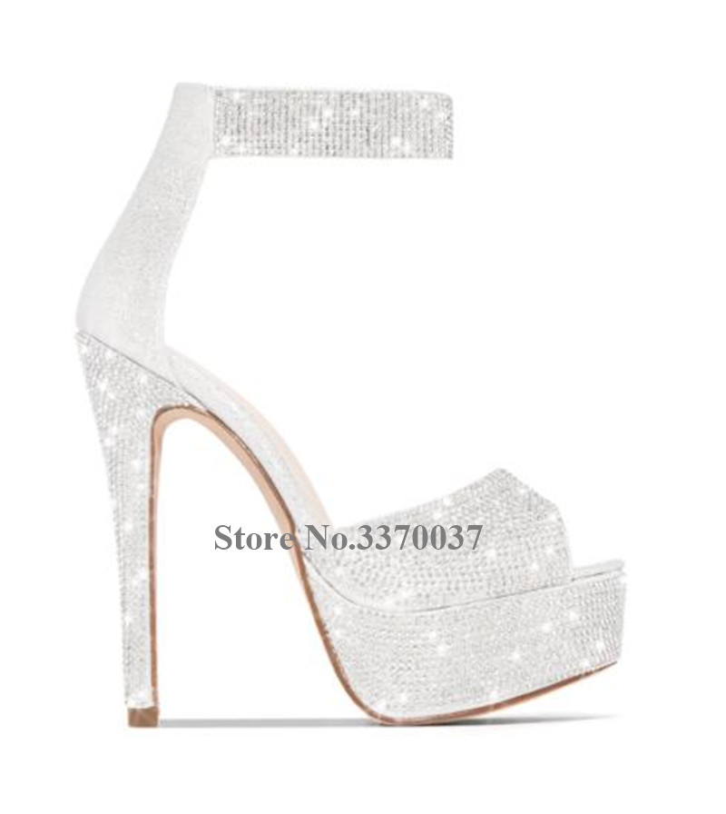 Bling Bling Luxurious Rhinestone Peep Toe Peep Toe Platform Stiletto Heel Pumps Ankle Strap Crystal High Heels Wedding Shoes - 5
