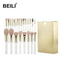 BEILI Pearl White Gold Professional Pincéis de maquiagem Rosa Crueldade Cabelo sintético livre Conjunto de pincéis de maquiagem brushes Cosmetic tool