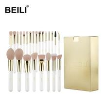 BEILI Pearl, белые золотые Профессиональные кисти для макияжа, розовые синтетические волосы, безжалостная Кисть для макияжа, набор кистей, косметический инструмент