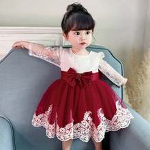Summer Beads Infant Baby Girl Dress Big Bow Baptism Flower Dresses for Girls 1 Year Birthday Lace Party Wedding Baby Clothes 24M