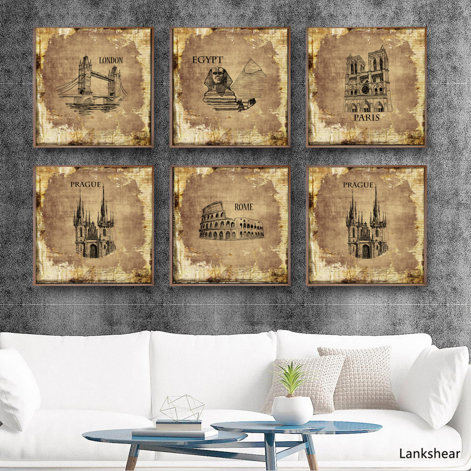 Retro Poster Vintage Architecture Iron Tower Home Decoration Print Oil Drawing Painting Canvas Wall Art Pictures For Living Room