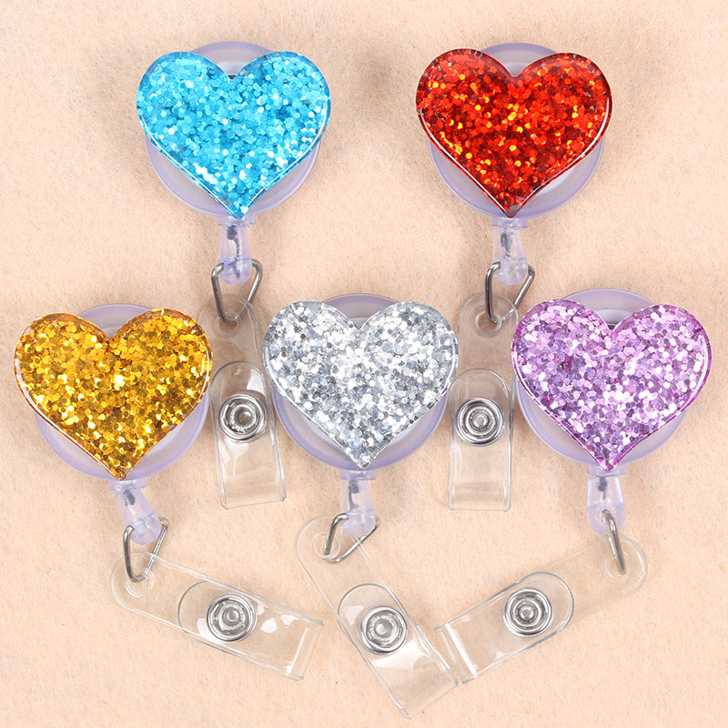 8 Style Shiny Colours Paint Love Heart Retractable Plastic Badge Holder Reel Students Nurse Exhibition Enfermera Chest Name Card
