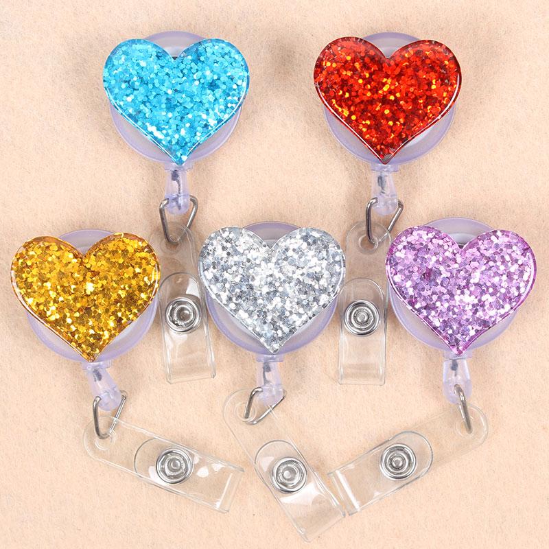 8 Style Shiny Colours Paint Love Heart Retractable Plastic Badge Holder Reel Students Nurse Exhibition Enfermera Chest Name Card