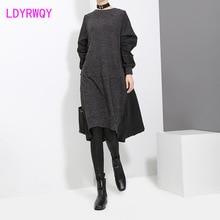 цены на 2019 autumn and winter women's new knit Korean version of the slim plus velvet dress  Ankle-Length  Full  в интернет-магазинах