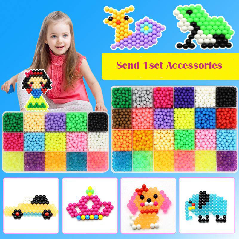8000pcs Water Magic Sticky Beads with Accessories Set Toys for Children Education Brain Aqua For Girls Toys(China)