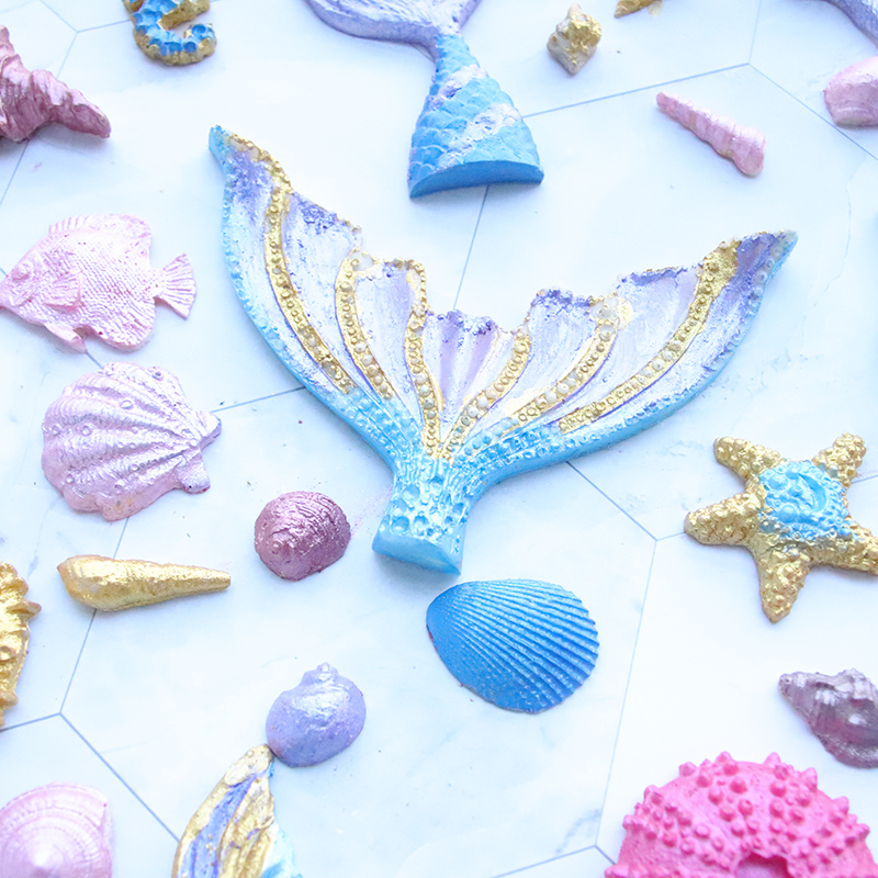 Kids Crafts Fishtail Silicone Fondant Mould Arts And Crafts For Kids Mermaid Cake Decoration Mould Ocean Silicone Mould Diy Toys