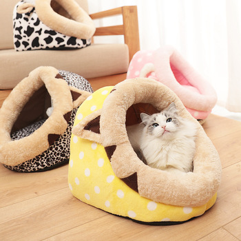 WHPC Warm Pet Cat Bed Indoor Kitten House For Cat Small Dogs Bed Nest Cat Cave Cute Sleeping Mats Cats Pet Products All Seasons фото