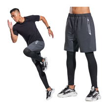 Running Trousers Men Quick Dry Gym Fitness Sportswear Compression Bodybuilding Sweatpant 2 In 1 Long Pants