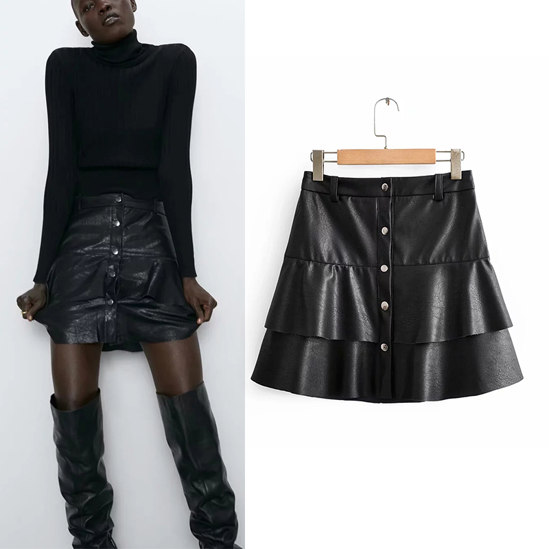 New woman sexuali tysty leskirt A-line Short skirt Casual Imitation leather laminate high waisted Package Hip High Waist image