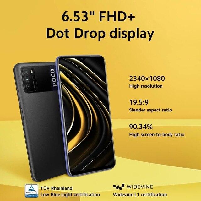 "Versão global poco m3 4gb 64gb/128gb smartphone snapdragon 662 octa núcleo 48mp triplo câmera 6.53 ""fhd + tela 6000mah bateria 4"