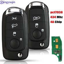 jingyuqin 3/4 Buttons PCF7938 434MHZ 4A Chip Remote Car Key For FIAT TIPO Toro 500X Nuovo Grazie Remote Control