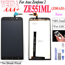 цена WEIDA For Asus Zenfone 2 ZE551ML Z00A LCD Display Panel Touch Screen Digitizer Assembly Frame ZE551ML Z00AD LCD Free TooL