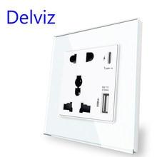 Gniazdo interfejsu Delviz type-c, uniwersalne międzynarodowe, Panel ze szkła kryształowego, zasilanie ścienne wyjście USB, 18W 4000mA inteligentne szybkie ładowanie