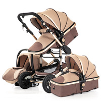 Baby Stroller with Car Seat Newborn Sleeping Basket 3 IN 1 Portable Baby Pushchair Baby Pram Baby Folding Lightweight Cart