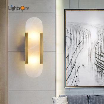 Luz de pared de mármol natural creativa Post-moderna, lámpara de pared de diseño para sala de estar, dormitorio, dormitorio