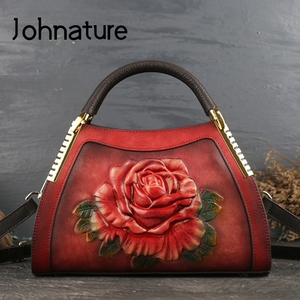 Image 1 - Johnature Genuine Leather Vintage Embossing Women Handbags 2020 New Fashion Casual Tote Cowhide Leisure Shoulder&Crossbody Bags