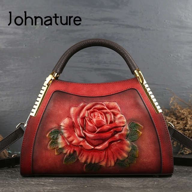 Johnature Genuine Leather Vintage Embossing Women Handbags 2020 New Fashion Casual Tote Cowhide Leisure Shoulder&Crossbody Bags