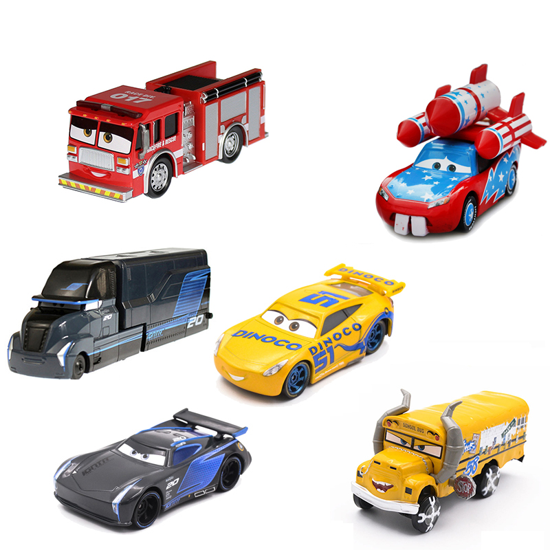 Disney Pixar Cars 3 2 Diecast Metal Car Rocket Lightning McQueen Mater Crazy Crashed Party Car Model Kids Gift Boys Car Toys