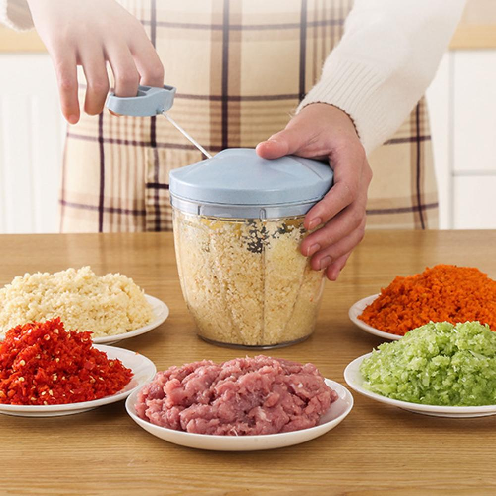 Household Manual Chopper Food Processor Egg Vegetable Meat Onion Garlic Parsley Grinder Masher With 5 Cutters Egg Cook Machine