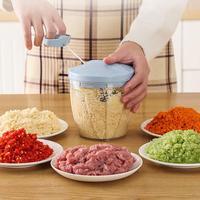 Manual do agregado familiar chopper processador de alimentos ovo vegetal carne cebola alho salsa moedor masher com 5 cortadores ovo cozinhar máquina Moedores de carne manual     -