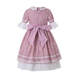 Image 2 - Pettigirl toptan yaz çiçek baskılı elbise parti elbise bebek yaka çekiliş kollu çocuk butik elbise + şapkalar